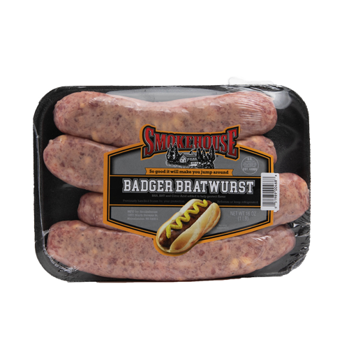 Image of the 16 oz Trig's Smokehouse Badger Bratwurst package