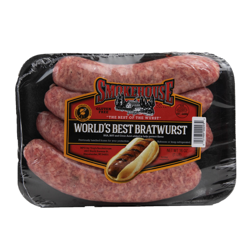 Image of the 16 oz Trig's Smokehouse World's Best Bratwurst package